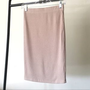 Forever 21 Taupe Ribbed Knit Pencil Skirt